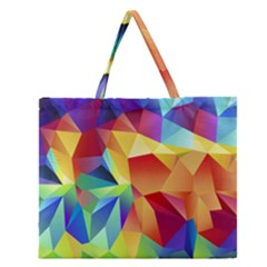 Triangles Space Rainbow Color Zipper Large Tote Bag by Mariart