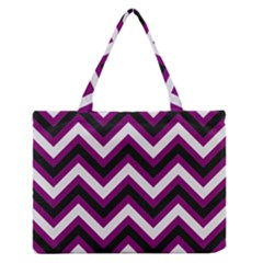 Zigzag pattern Medium Zipper Tote Bag by Valentinaart