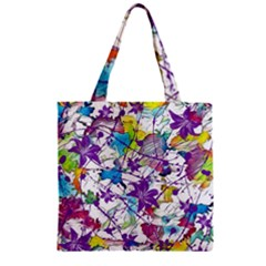Lilac Lillys Zipper Grocery Tote Bag by designworld65