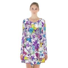 Lilac Lillys Long Sleeve Velvet V Neck Dress by designworld65