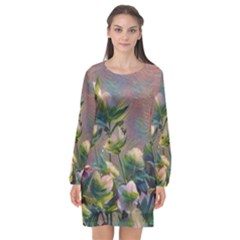 Colour Fantasy Long Sleeve Chiffon Shift Dress