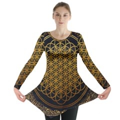 Bring Me The Horizon Cover Album Gold Long Sleeve Tunic  by Onesevenart