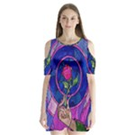 Enchanted Rose Stained Glass Shoulder Cutout Velvet  One Piece