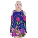 Enchanted Rose Stained Glass Velvet Long Sleeve Shoulder Cutout Dress