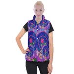 Enchanted Rose Stained Glass Women s Button Up Puffer Vest