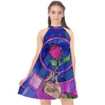 Enchanted Rose Stained Glass Halter Neckline Chiffon Dress