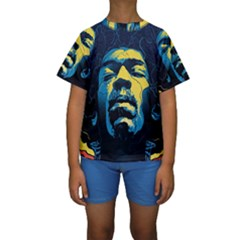 Gabz Jimi Hendrix Voodoo Child Poster Release From Dark Hall Mansion Kids  Short Sleeve Swimwear by Onesevenart