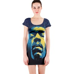 Gabz Jimi Hendrix Voodoo Child Poster Release From Dark Hall Mansion Short Sleeve Bodycon Dress by Onesevenart
