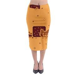 Nyan Cat Vintage Midi Pencil Skirt by Onesevenart