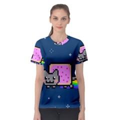 Nyan Cat Women s Sport Mesh Tee by Onesevenart