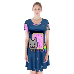Nyan Cat Short Sleeve V Neck Flare Dress by Onesevenart