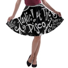Panic ! At The Disco Lyric Quotes A Line Skater Skirt by Onesevenart