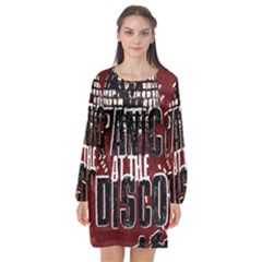Panic At The Disco Poster Long Sleeve Chiffon Shift Dress  by Onesevenart