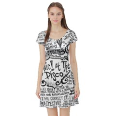 Panic! At The Disco Lyric Quotes Short Sleeve Skater Dress by Onesevenart