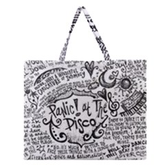 Panic! At The Disco Lyric Quotes Zipper Large Tote Bag by Onesevenart