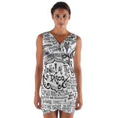 Panic! At The Disco Lyric Quotes Wrap Front Bodycon Dress by Onesevenart