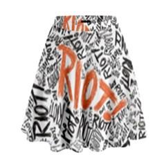 Paramore Is An American Rock Band High Waist Skirt by Onesevenart