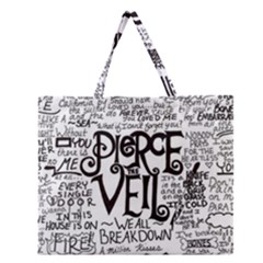 Pierce The Veil Music Band Group Fabric Art Cloth Poster Zipper Large Tote Bag by Onesevenart