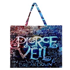 Pierce The Veil Quote Galaxy Nebula Zipper Large Tote Bag by Onesevenart