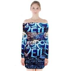 Pierce The Veil Quote Galaxy Nebula Long Sleeve Off Shoulder Dress by Onesevenart