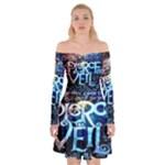 Pierce The Veil Quote Galaxy Nebula Off Shoulder Skater Dress