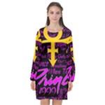 Prince Poster Long Sleeve Chiffon Shift Dress