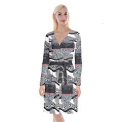 Sometimes Quiet Is Violent Twenty One Pilots The Meaning Of Blurryface Album Long Sleeve Velvet Front Wrap Dress by Onesevenart