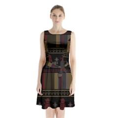 Tardis Doctor Who Ugly Holiday Sleeveless Waist Tie Chiffon Dress by Onesevenart