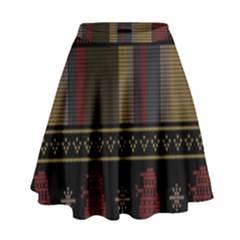Tardis Doctor Who Ugly Holiday High Waist Skirt by Onesevenart