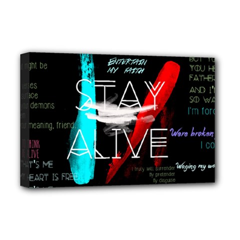 Twenty One Pilots Stay Alive Song Lyrics Quotes Deluxe Canvas 18  X 12   by Onesevenart
