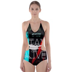 Twenty One Pilots Stay Alive Song Lyrics Quotes Cut Out One Piece Swimsuit by Onesevenart
