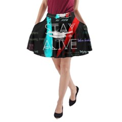 Twenty One Pilots Stay Alive Song Lyrics Quotes A Line Pocket Skirt by Onesevenart