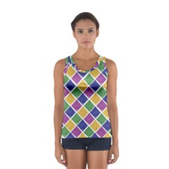 African Illutrations Plaid Color Rainbow Blue Green Yellow Purple White Line Chevron Wave Polkadot Women s Sport Tank Top  by Mariart