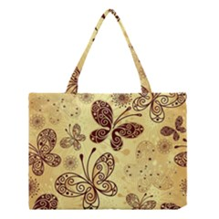Butterfly Animals Fly Purple Gold Polkadot Flower Floral Star Sunflower Medium Tote Bag by Mariart