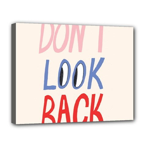 Don t Look Back Big Eye Pink Red Blue Sexy Canvas 14  X 11  by Mariart