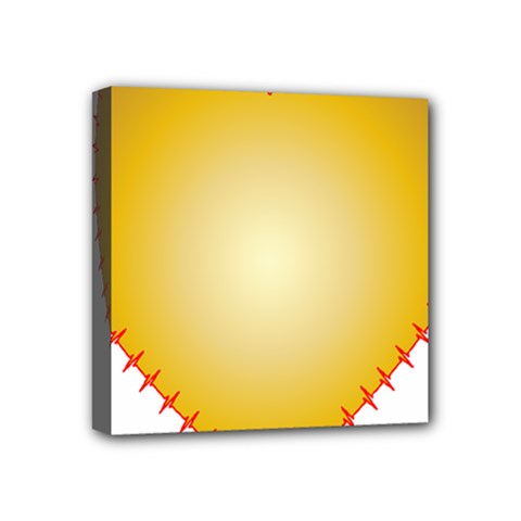Heart Rhythm Gold Red Mini Canvas 4  X 4  by Mariart