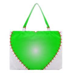 Heart Rhythm Inner Green Red Medium Tote Bag by Mariart
