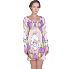 Make An Easter Egg Wreath Rabbit Face Cute Pink White Long Sleeve Nightdress by Mariart