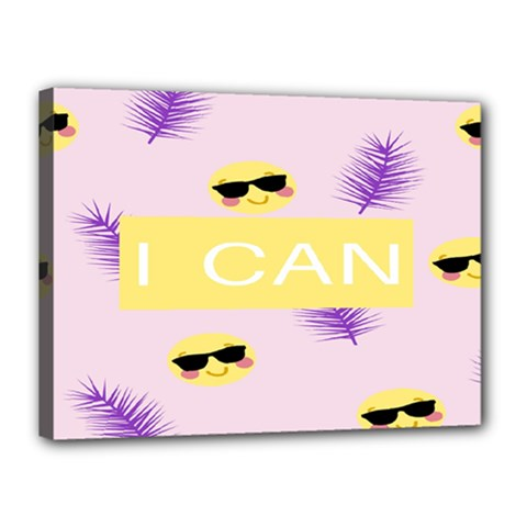 I Can Purple Face Smile Mask Tree Yellow Canvas 16  X 12  by Mariart