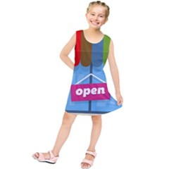 Store Open Color Rainbow Glass Orange Red Blue Brown Green Pink Kids  Tunic Dress by Mariart