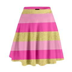 Pink Line Gold Red Horizontal High Waist Skirt by Mariart