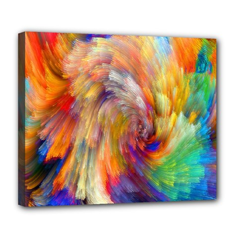 Rainbow Color Splash Deluxe Canvas 24  X 20   by Mariart