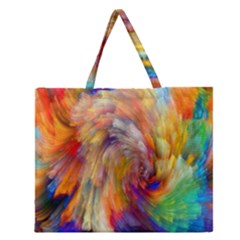 Rainbow Color Splash Zipper Large Tote Bag by Mariart