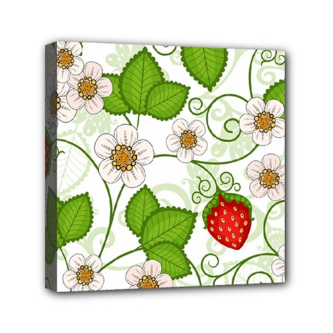 Strawberry Fruit Leaf Flower Floral Star Green Red White Mini Canvas 6  X 6  by Mariart