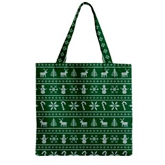 Ugly Christmas Zipper Grocery Tote Bag by Onesevenart