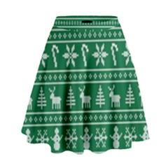Ugly Christmas High Waist Skirt by Onesevenart