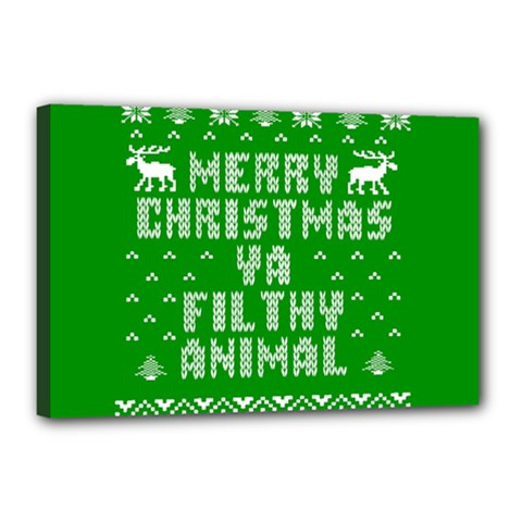 Ugly Christmas Sweater Canvas 18  X 12  by Onesevenart