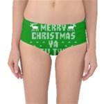 Ugly Christmas Sweater Mid-Waist Bikini Bottoms