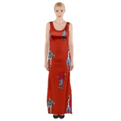 Drake Ugly Holiday Christmas Maxi Thigh Split Dress by Onesevenart
