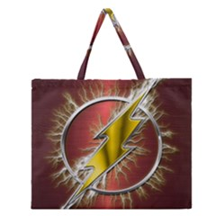 Flash Flashy Logo Zipper Large Tote Bag by Onesevenart